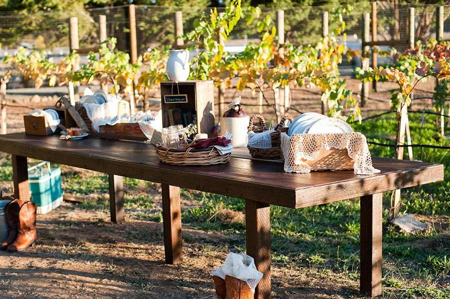 Choose our own caterer for our outdoor wedding venue, and have a table set up overlooking vineyard